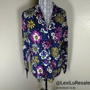 Vera Bradley Floral Cheetah Button Up L/S Shirt